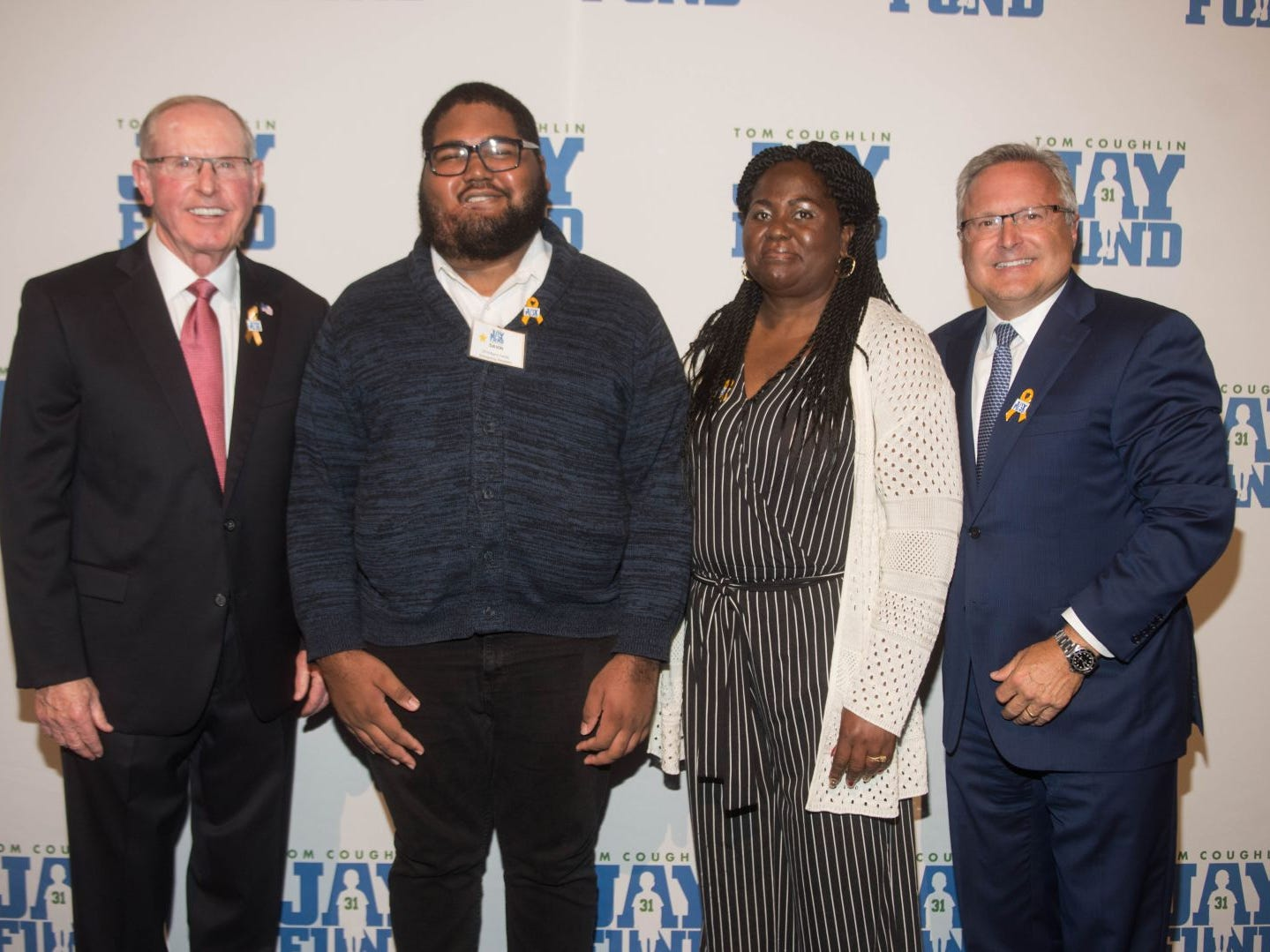 Tom Coughlin, Davin Goulbourne, Gene Scott and Steve Barry. The 14th annual Jay Fund Champions for Children Gala was held at Cipriani 42nd Street. 09/21/2018