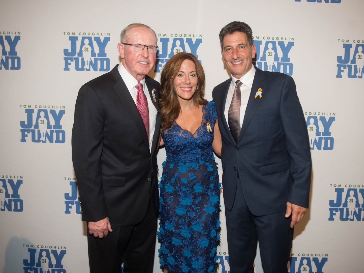 Tom Coughlin, Lisa Mauro and Gene Steratore. The 14th annual Jay Fund Champions for Children Gala was held at Cipriani 42nd Street. 09/21/2018