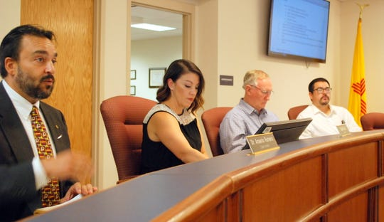 Pictured from left are superintendent Arsenio Romero, and board members Sophia Cruz, Bayne Anderson and Matt Robinson at Thursday's Deming Public School meeting.