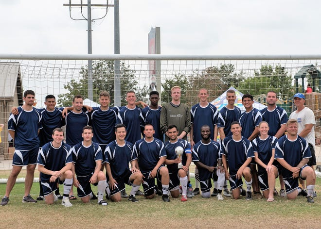 Holloman's Varsity Soccer Team poses for a group picture at the South Texas Area Regional Soccer Complex in San Antonio, Texas, Sept. 3. The team competes in the 2018 Defender's Cup and placed third against 37 other teams.