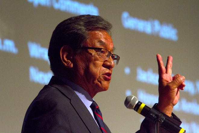 Navajo Nation President Russell Begaye talks, Tuesday, July 31, 2018 during a Radiation Exposure Compensation Act public meeting at the Phil L. Thomas Performing Arts Center in Shiprock.