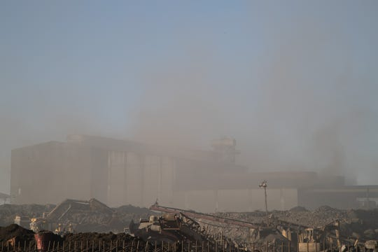 Smoke pours out of the Grupo Simec steel mill near Mexicali.