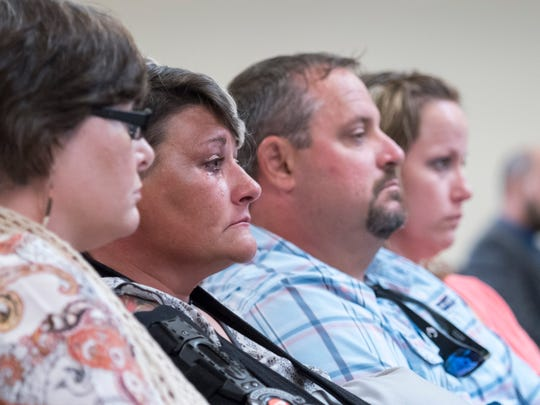 Melanie and Matthew Harrell listen to testimony during Kailen Kelly's sentencing in the Santa Rosa Courthouse in Milton on Monday, September 24, 2018.  Kelly pleaded guilty and was sentenced to life in prison for killing two sisters - Stormie Harrell, 7, and Sidney Dowdy, 17 - in a DUI crash May 6, 2018, on Woodbine Road in Santa Rosa County.