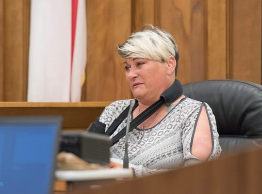 Melanie Harrell addresses the court during Kailen Kelly's sentencing in the Santa Rosa Courthouse in Milton on Monday, September 24, 2018.  Kelly pleaded guilty and was sentenced to life in prison for killing two sisters - Stormie Harrell, 7, and Sidney Dowdy, 17 - in a DUI crash May 6, 2018, on Woodbine Road in Santa Rosa County.