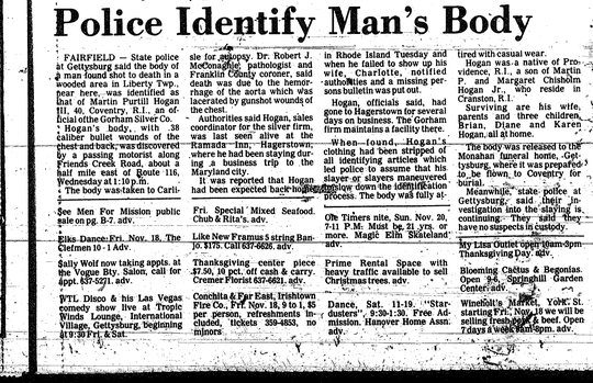 A newspaper clipping from November 18, 1977 reports on the police identification of Martin Hogan III, a Rhode Island man whose body was found riddled with bullets in a wooded area near Fairfield.