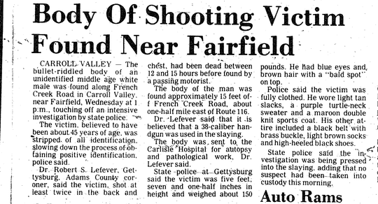 A newspaper clipping from November 17, 1977 reports on the finding of a body near French Creek Road in Adams County.