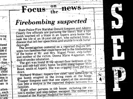 An article from September 1, 1981 notes that investigators were pursuing the possibility that Wagaman's house was firebombed.