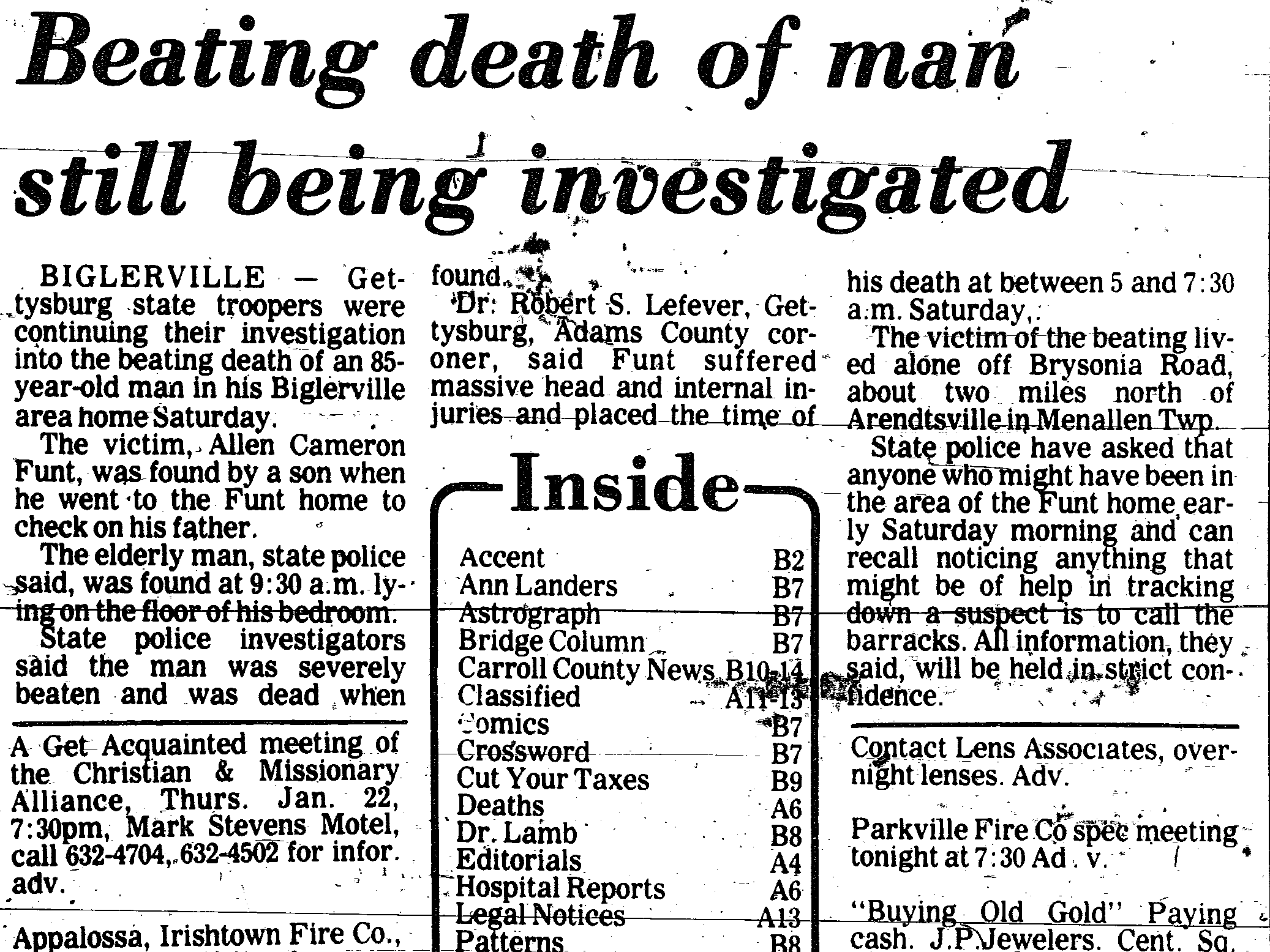 An article from January 19, 1981 reports on the beating death of Allen Funt, 85, of Menallen Township.