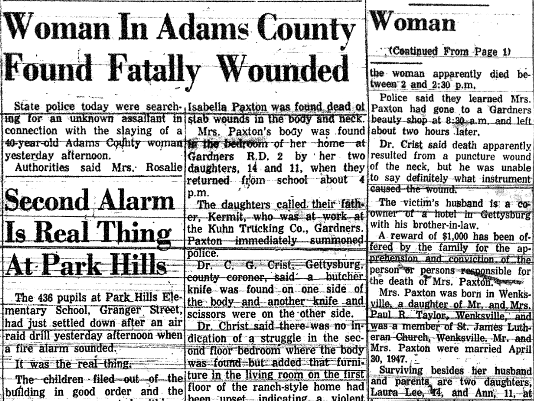 An article from October 25, 1962 reports on the case of Rosalie Paxton, 40, who was found dead of stab wounds in the body and neck the previous day.