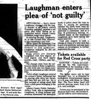 An article from October 30, 1987 reports on Barry Laughman's criminal case. Laughman was found guilty of raping and murdering his neighbor and distant relative, Edna, and served 16 years in prison before DNA evidence from the scene exonerated him.