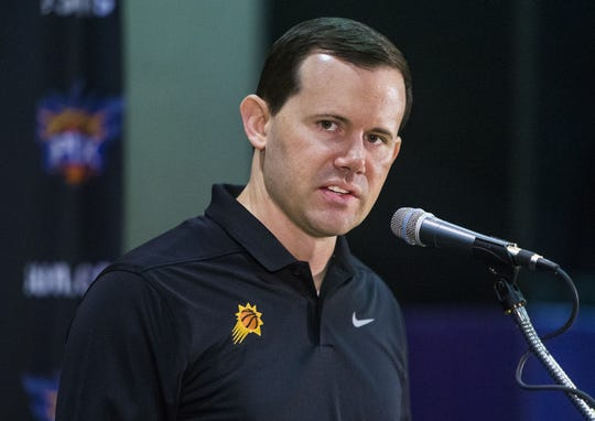 Suns General Manager Ryan McDonough addresses the media on Monday.