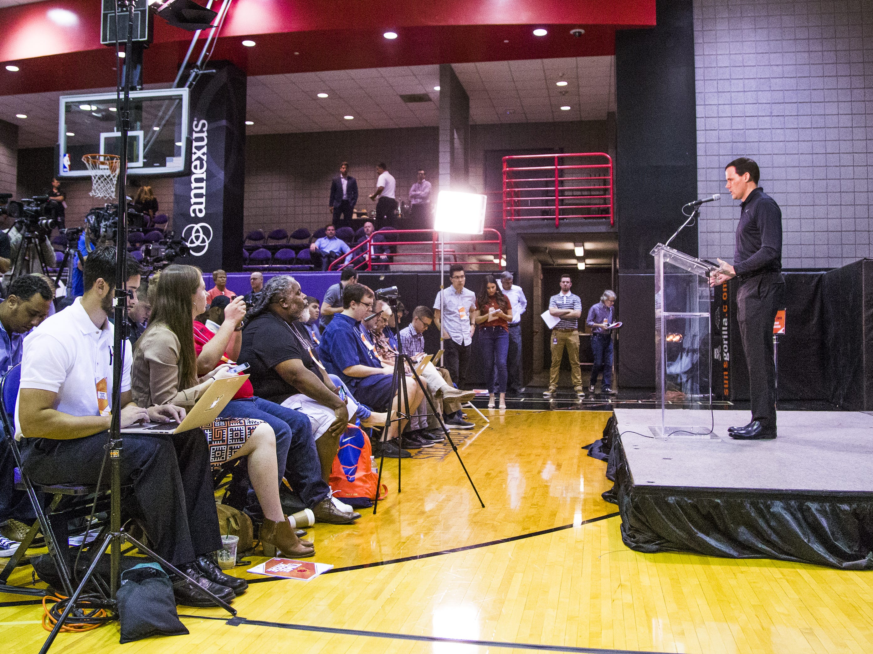 Ryan McDonough, general manager of the Phoenix Suns, addresses the media at Phoenix Suns Media Day at Talking Stick Resort Arena in Phoenix, Monday, September 24, 2018.