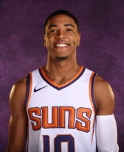 Suns guard Shaquille Harrison poses on media day on Monday.