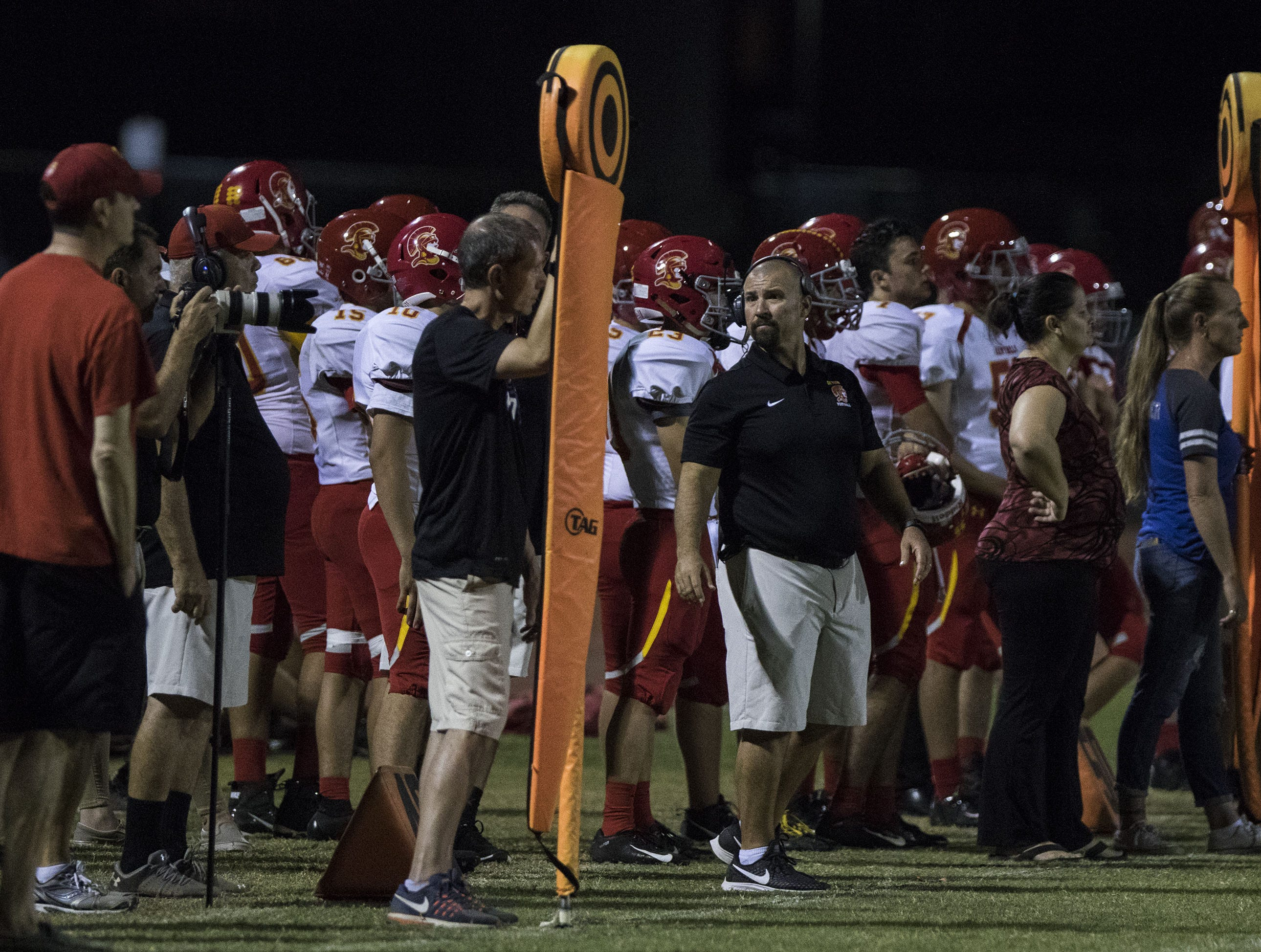 Seton's sideline during their game against Mesquite in Gilbert Friday, Sept. 21, 2018. #azhsfb