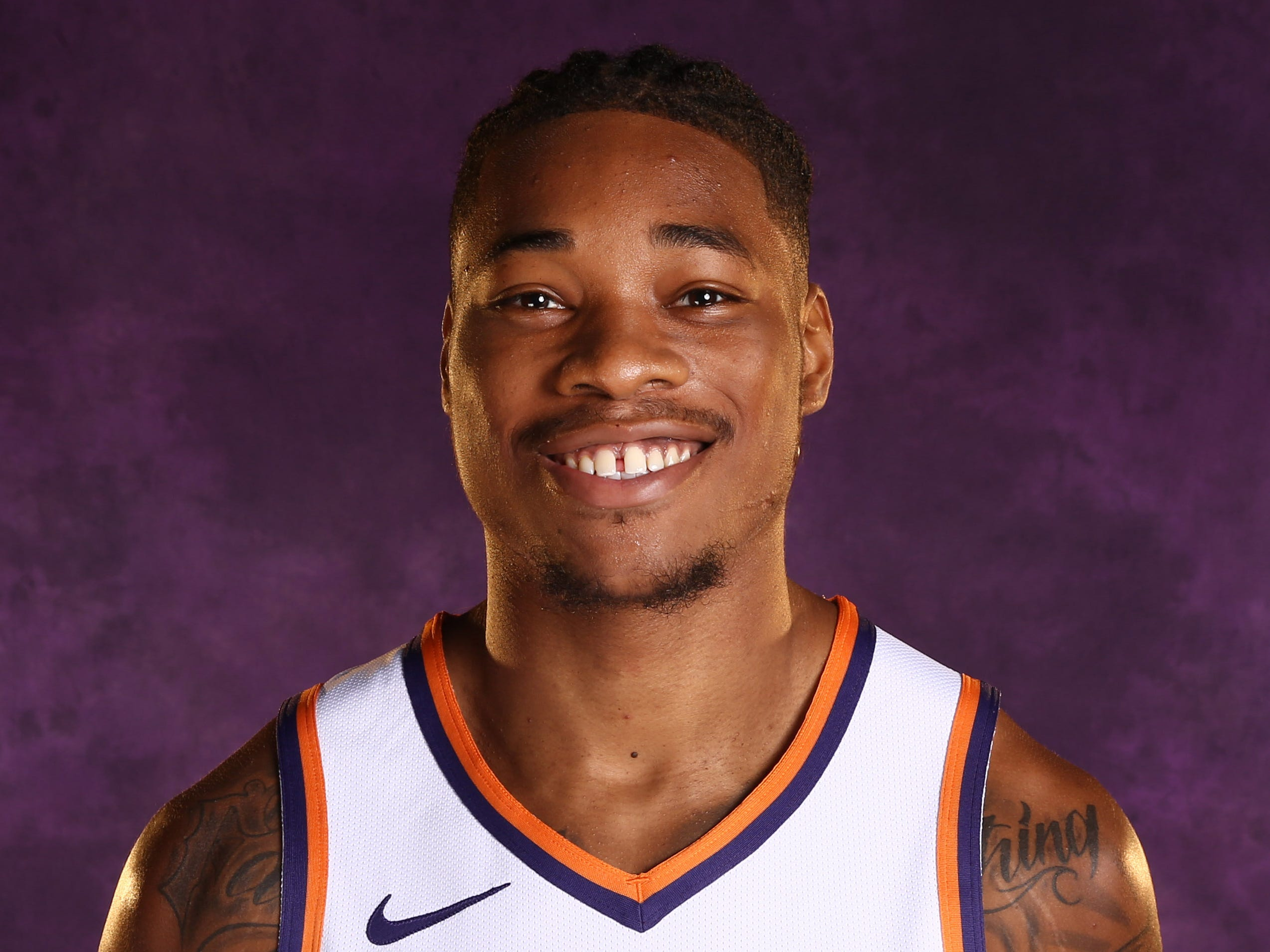 Phoenix Suns forward Richaun Holmes during media day at Talking Stick Resort Arena on Sep. 24, 2018, in Phoenix, Ariz.