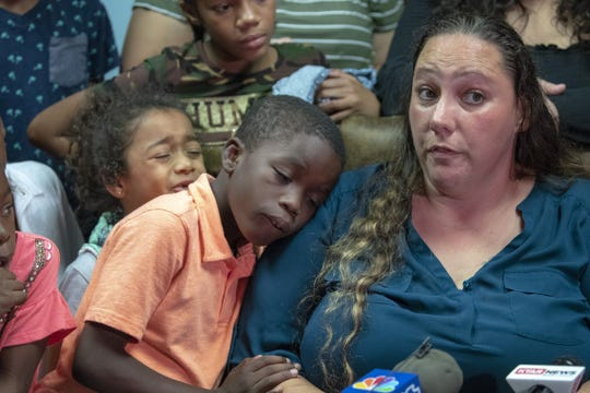 Jodi Jackson, Edward Brown's sister-in-law, speaks at a press conference on Sept. 24, 2018. Brown is paralyzed from the chest down after he was shot by a Phoenix police officer in August.