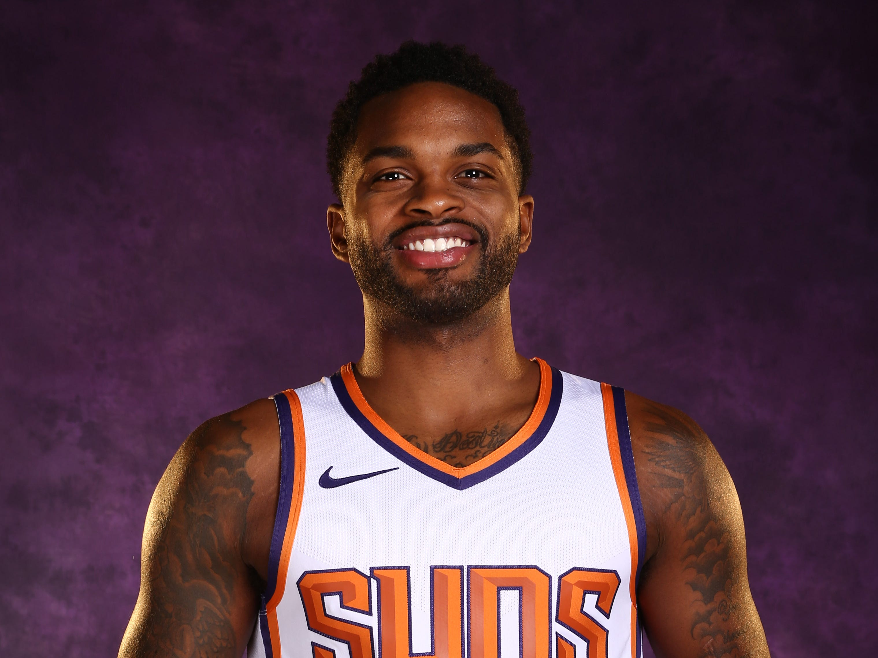 Phoenix Suns guard Troy Daniels during media day at Talking Stick Resort Arena on Sep. 24, 2018, in Phoenix, Ariz.