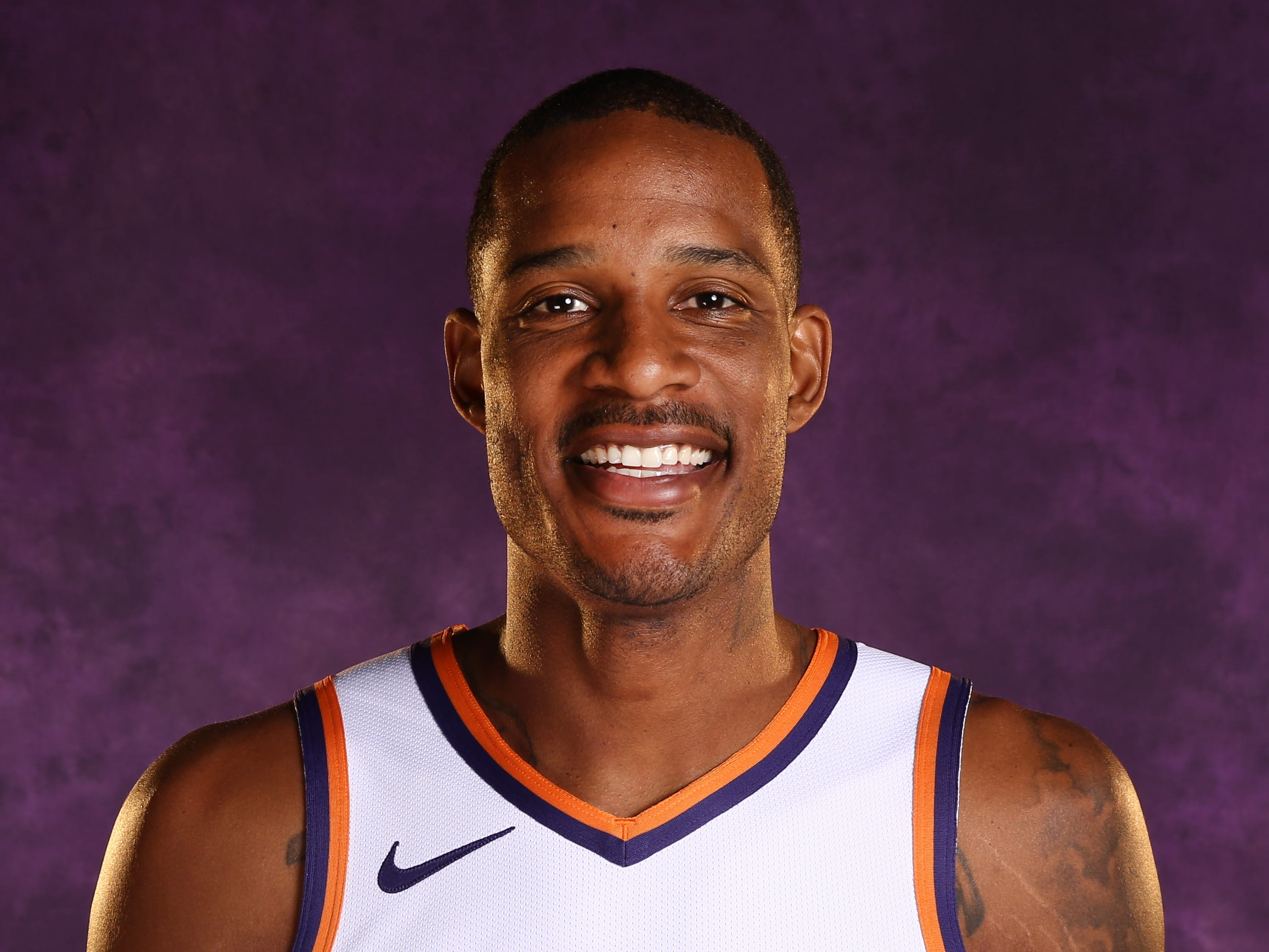 Phoenix Suns forward Trevor Ariza during media day at Talking Stick Resort Arena on Sep. 24, 2018, in Phoenix, Ariz.