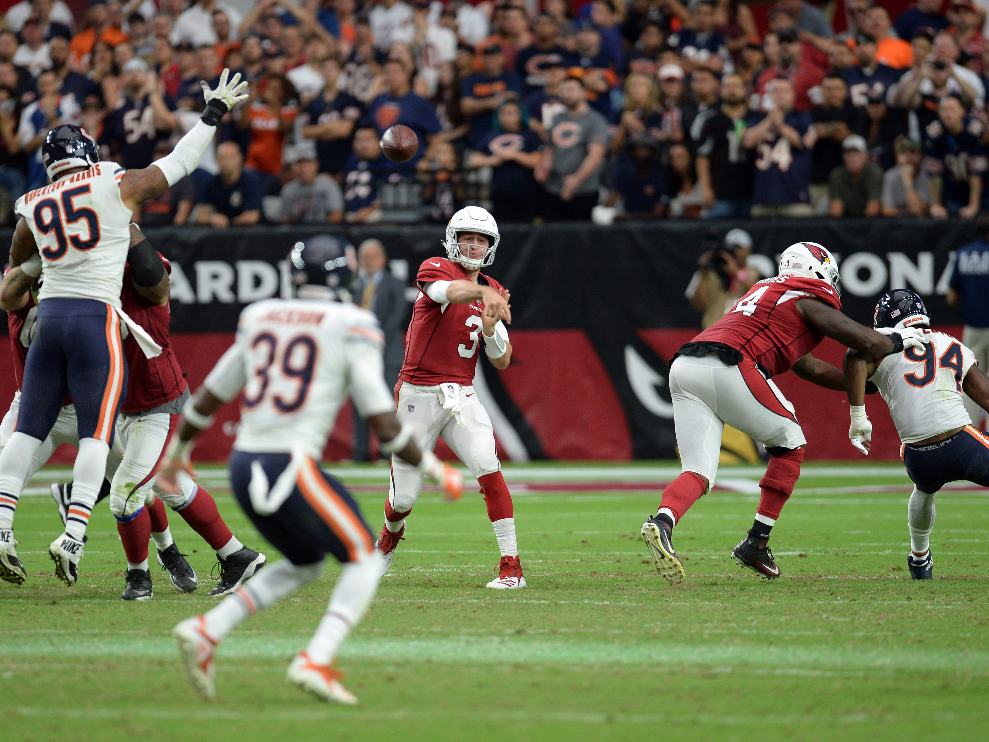 Sep 23, 2018; Glendale, AZ, USA; Arizona Cardinals quarterback Josh Rosen (3) throws a pass against the Chicago Bears during the second half at State Farm Stadium. Mandatory Credit: Joe Camporeale-USA TODAY Sports