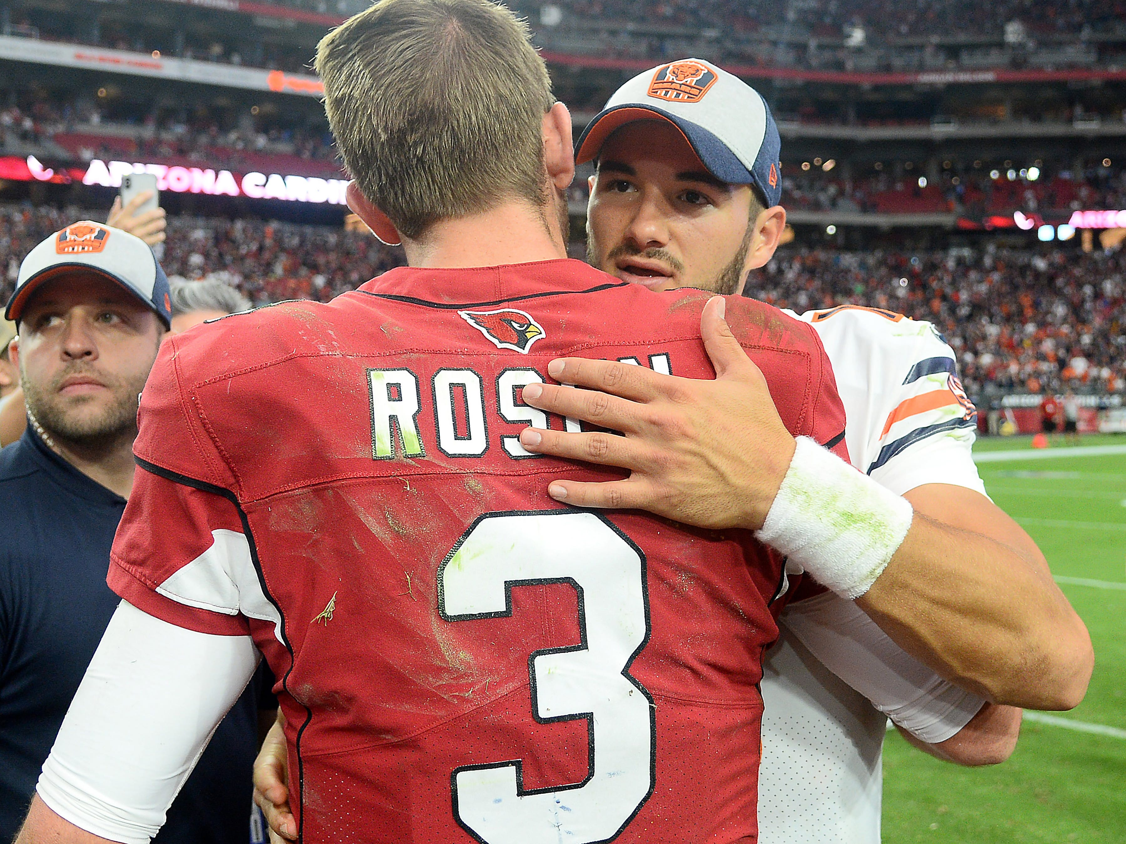 Sep 23, 2018; Glendale, AZ, USA; Arizona Cardinals quarterback Josh Rosen (3) and Chicago Bears quarterback Mitchell Trubisky (10) hug after the game at State Farm Stadium. Mandatory Credit: Joe Camporeale-USA TODAY Sports