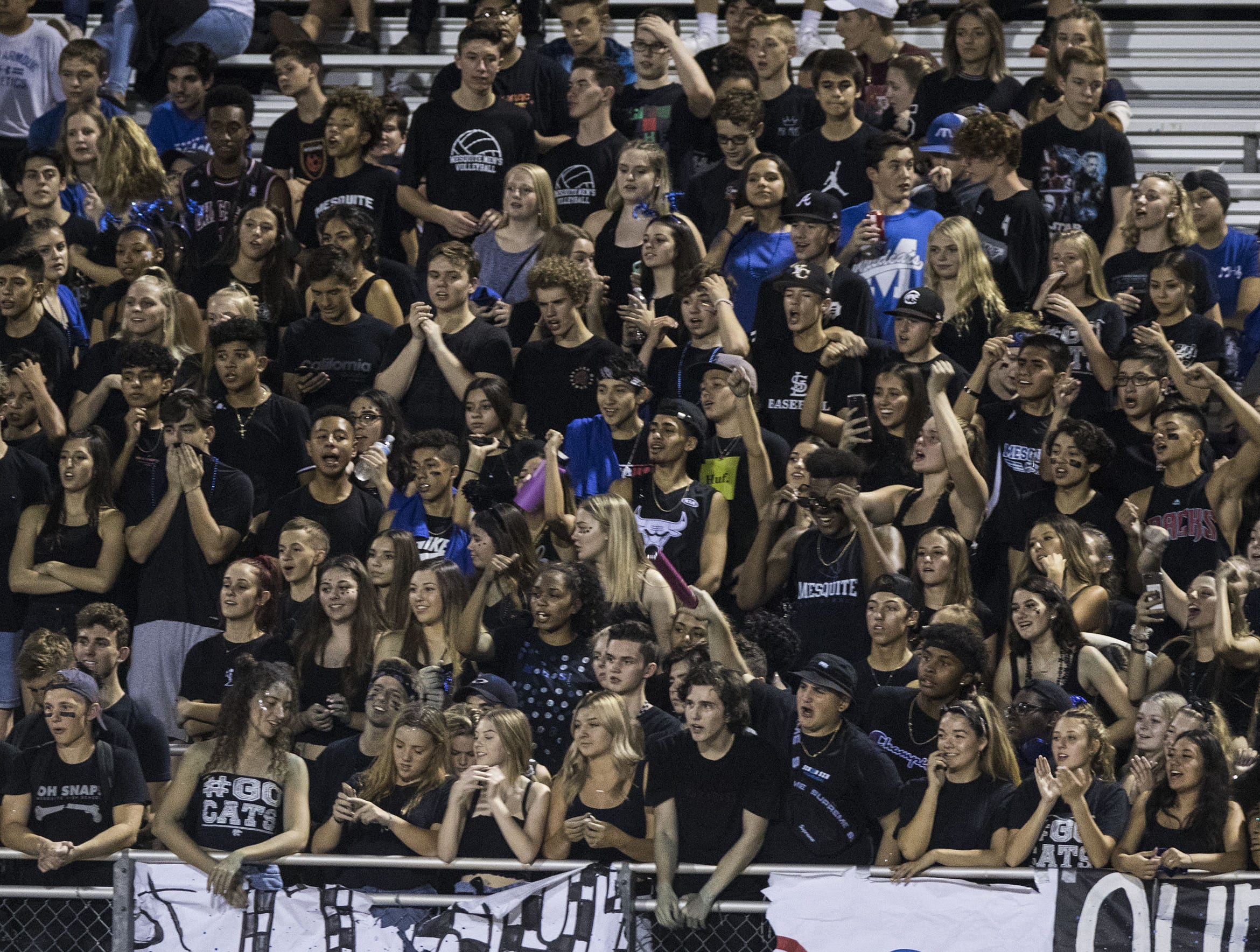 Mesquite's student body cheer on their Wildcats during their game against Seton in Gilbert Friday, Sept. 21, 2018. #azhsfb
