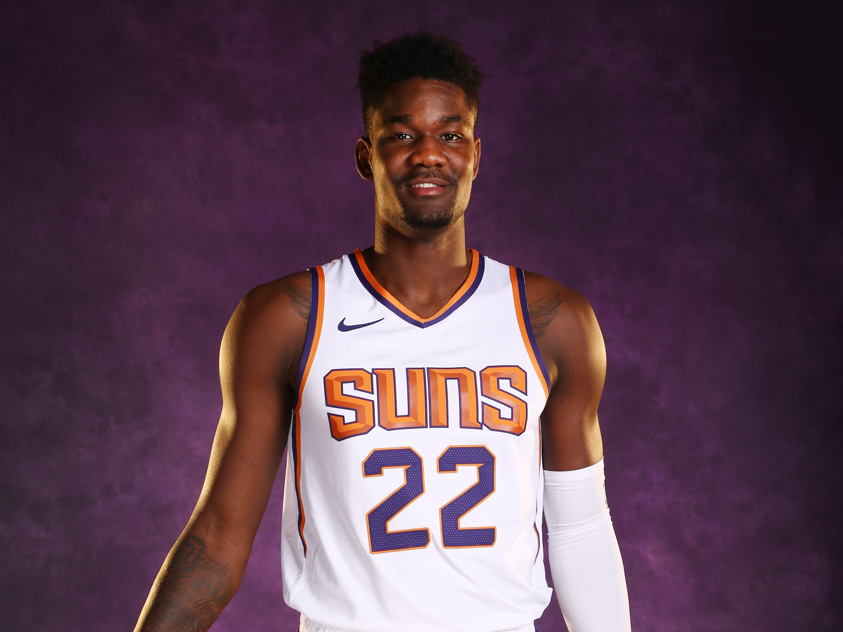 Phoenix Suns forward Deandre Ayton during media day at Talking Stick Resort Arena on Sep. 24, 2018, in Phoenix, Ariz.