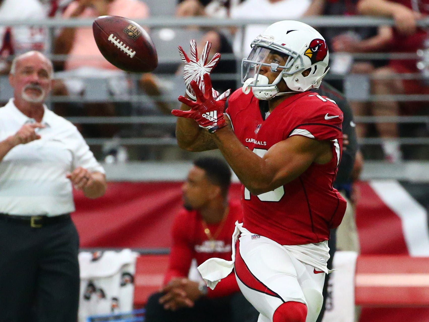 Arizona Cardinals wide receiver Christian Kirk makes a first-down on this catch from Sam Bradford against the Chicago Bears in the second half at State Farm Stadium in Glendale, Ariz.