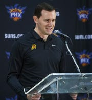 Ryan McDonough addresses the media as the Suns' general manager at media day on Sept. 24.