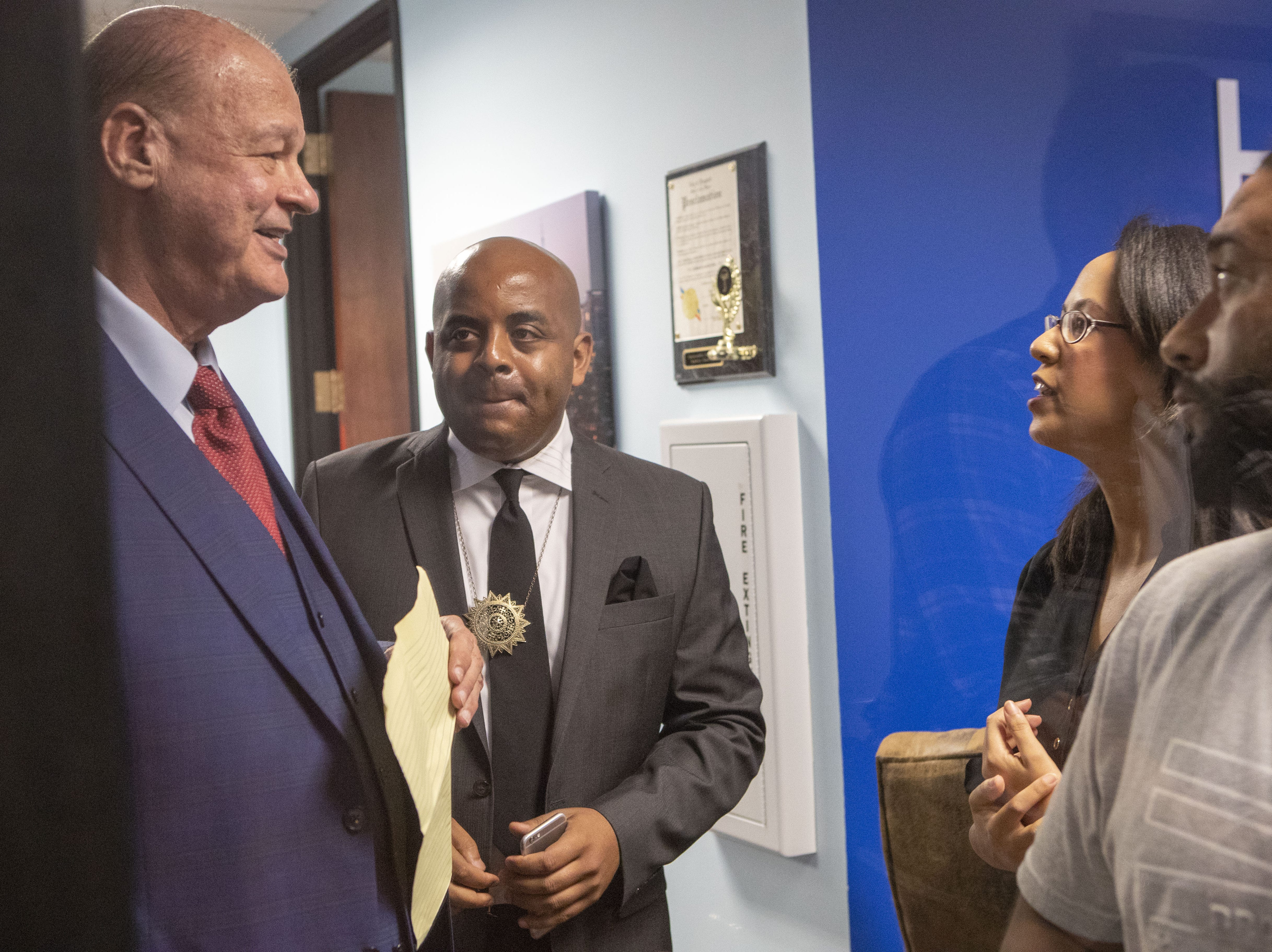 Former AG Tom Horne (left) and Jarrett Maupin at a press conference for Horne's client Edward Brown, who is paralyzed from the chest down since being shot by a Phoenix police officer in August.