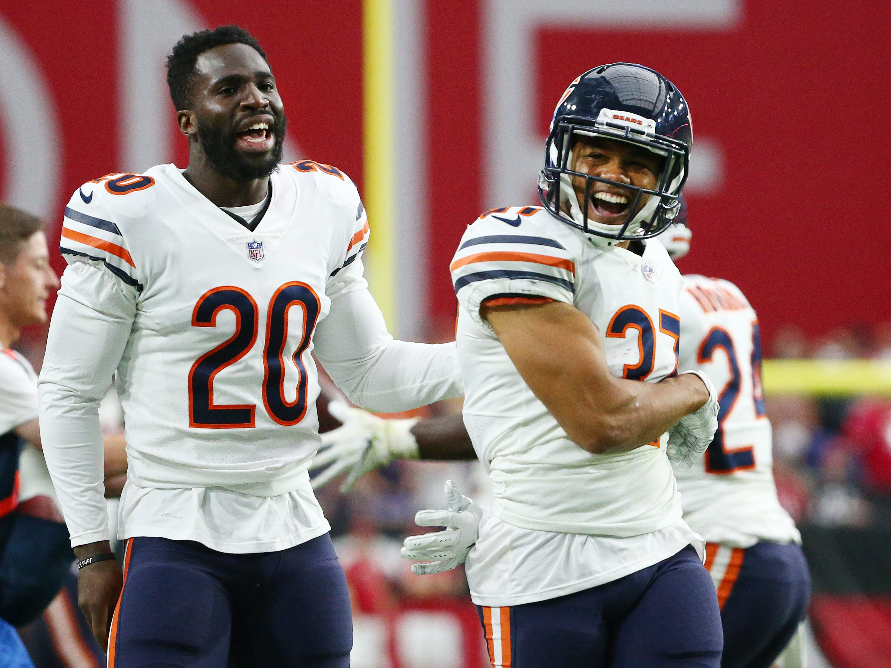 Chicago Bears Bryce Callahan (37) celebrates after intercepting a pass from Arizona Cardinals Josh Rosen in the second half at State Farm Stadium in Glendale, Ariz.