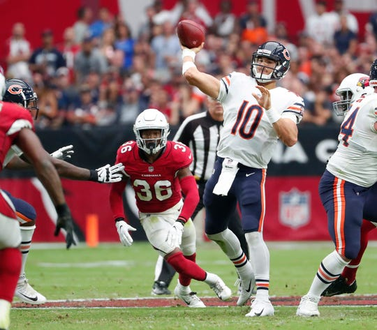 Bears quarterback Mitchell Trubisky throws a pass during the second quarter of a game against the Cardinals on Sept. 23 at State Farm Stadium.