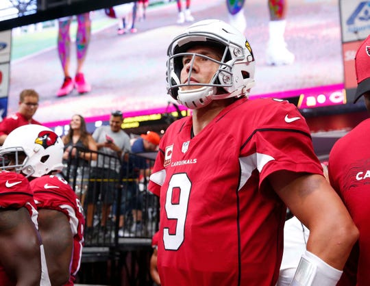 Cardinals quarterback Sam Bradford waits to be introduced before a game against the Bears at State Farm Stadium.