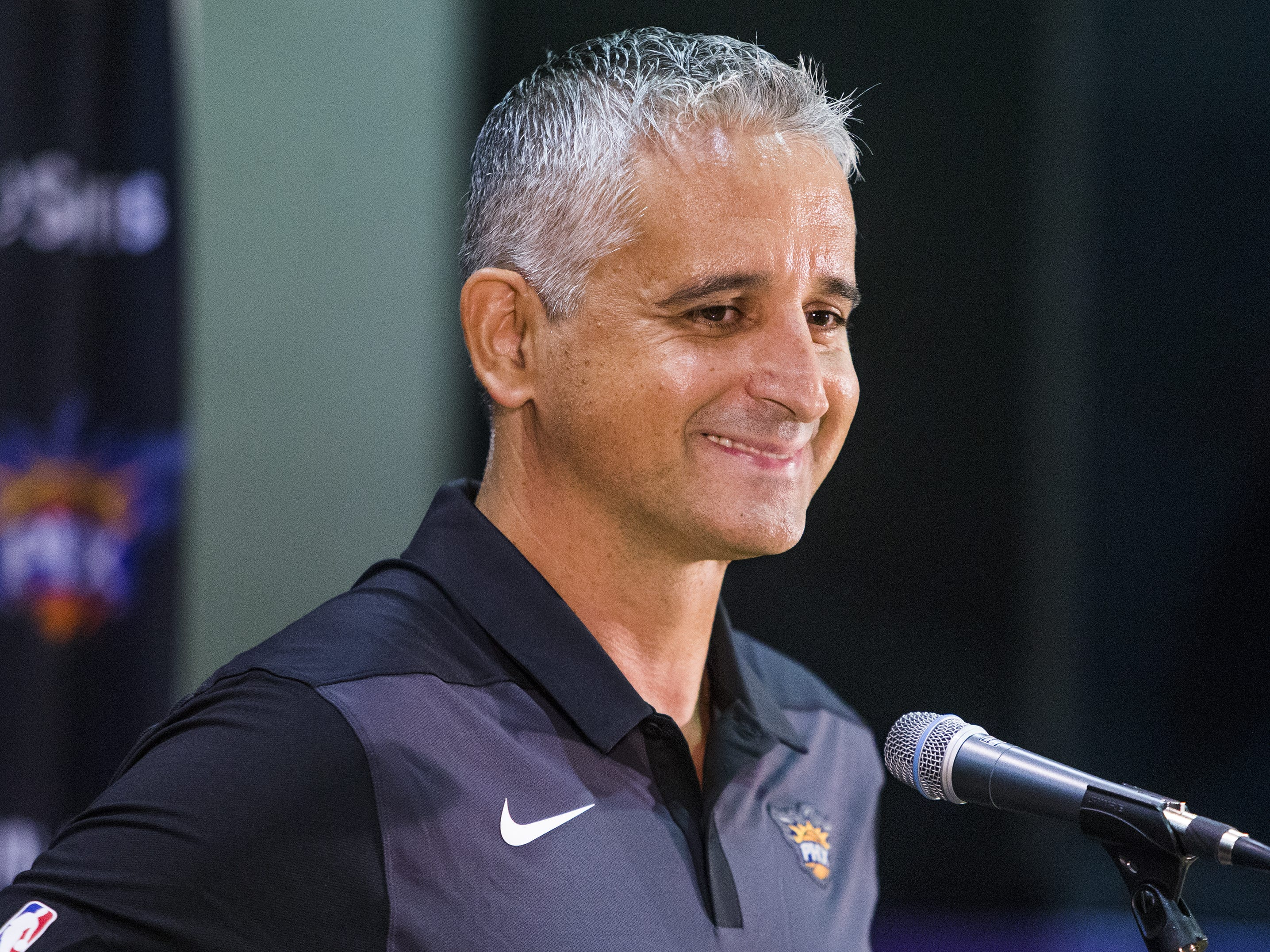 Igor Kokoskov, head coach of the Phoenix Suns, addresses the media at Phoenix Suns Media Day at Talking Stick Resort Arena in Phoenix, Monday, September 24, 2018.