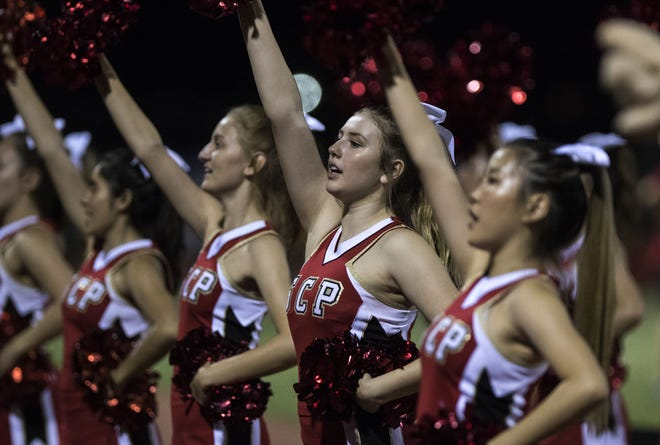 Seton cheerleaders do their thing during their game against Mesquite in Gilbert Friday, Sept. 21, 2018. #azhsfb