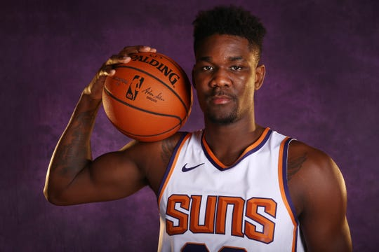 Suns rookie Deandre Ayton poses during media day on Monday.