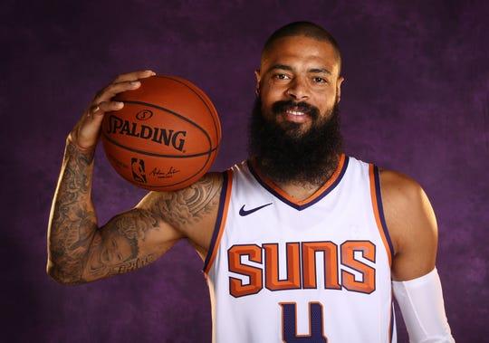 Phoenix Suns center Tyson Chandler during media day at Talking Stick Resort Arena on Aug. 21, 2018, in Phoenix, Ariz.