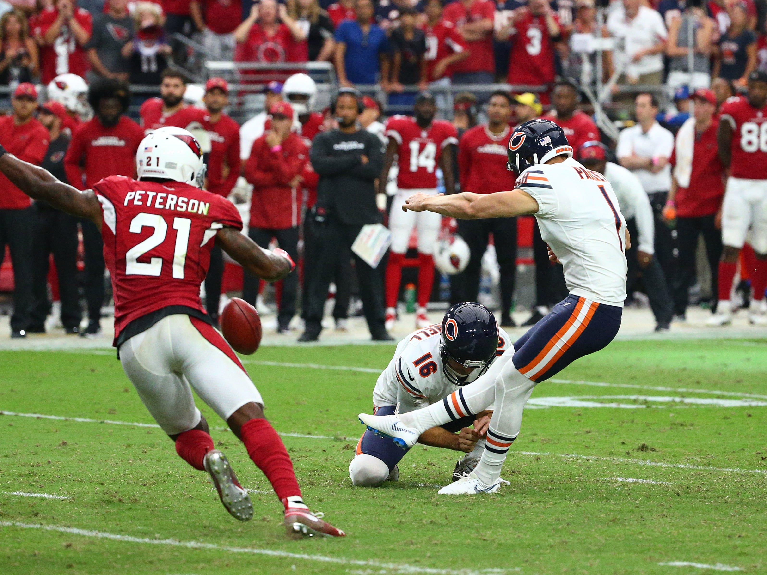 Chicago Bears Cody Parkey kicks the winning field goal against the Arizona Cardinals in the second half at State Farm Stadium in Glendale, Ariz.