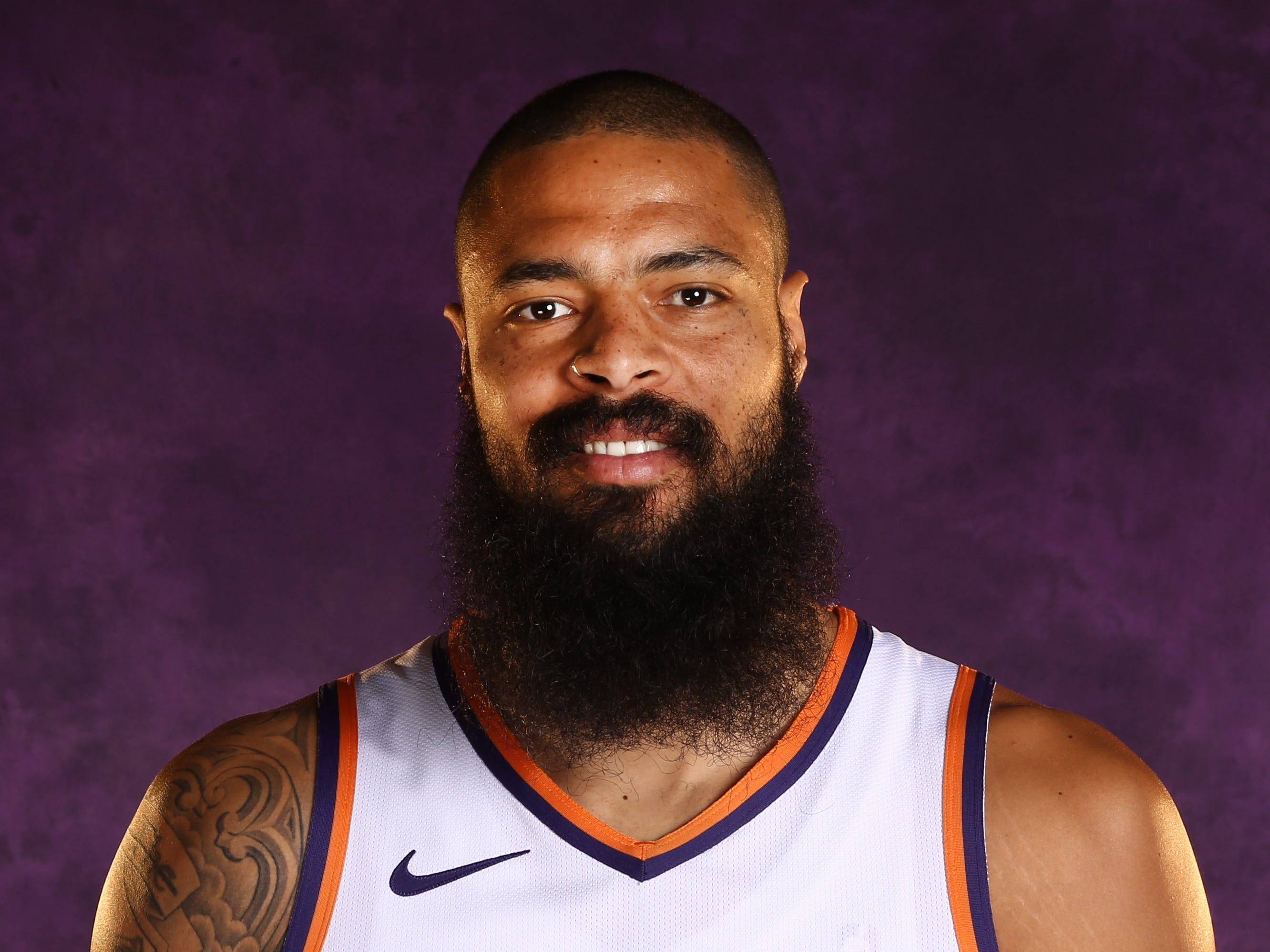 Phoenix Suns center Tyson Chandler during media day at Talking Stick Resort Arena on Aug. 21, 2018, in Phoenix, Ariz.