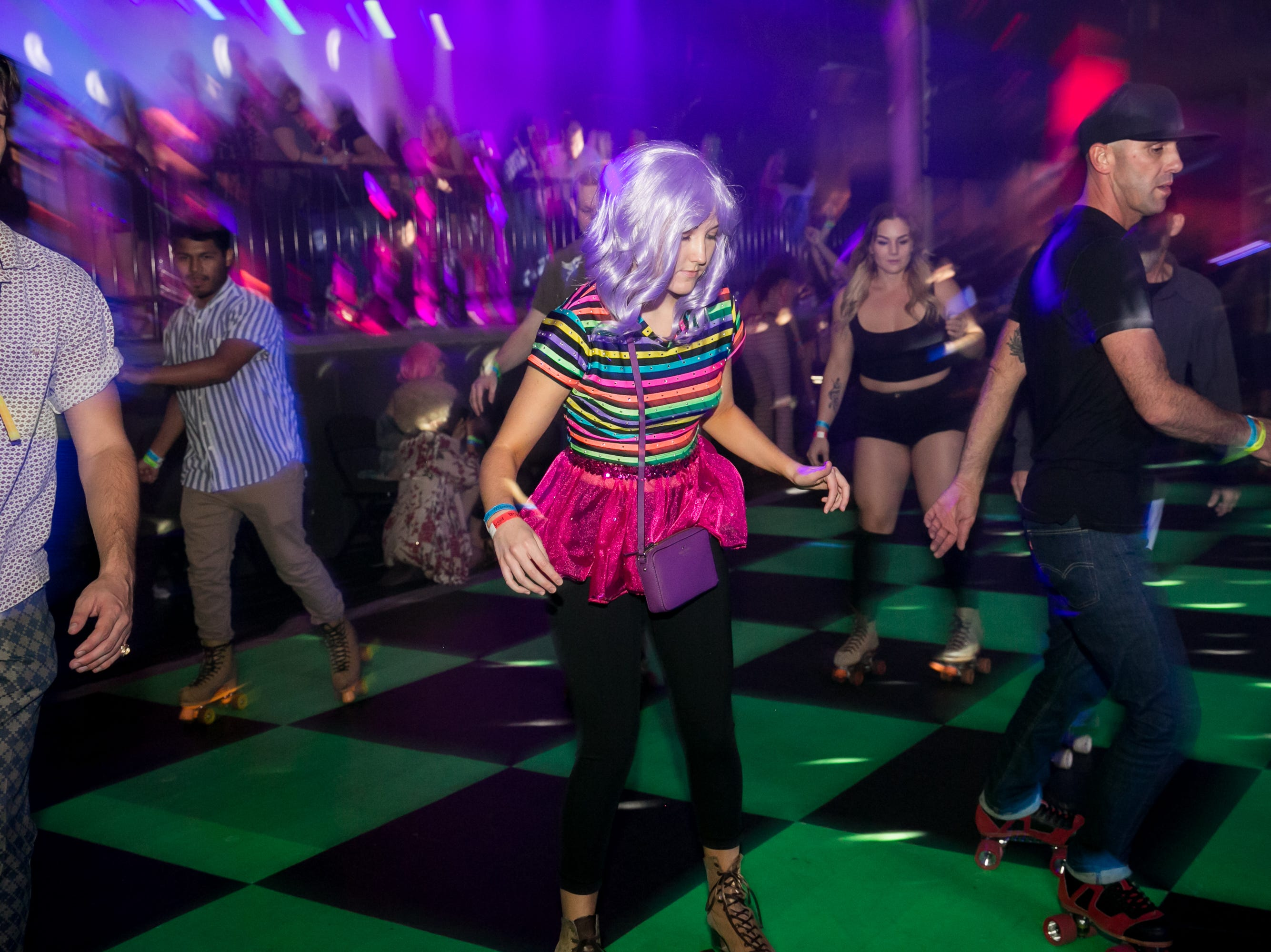 Skaters take to the rink during The Van Buren's Roller Disco Dance Party on Friday, September 21, 2018.