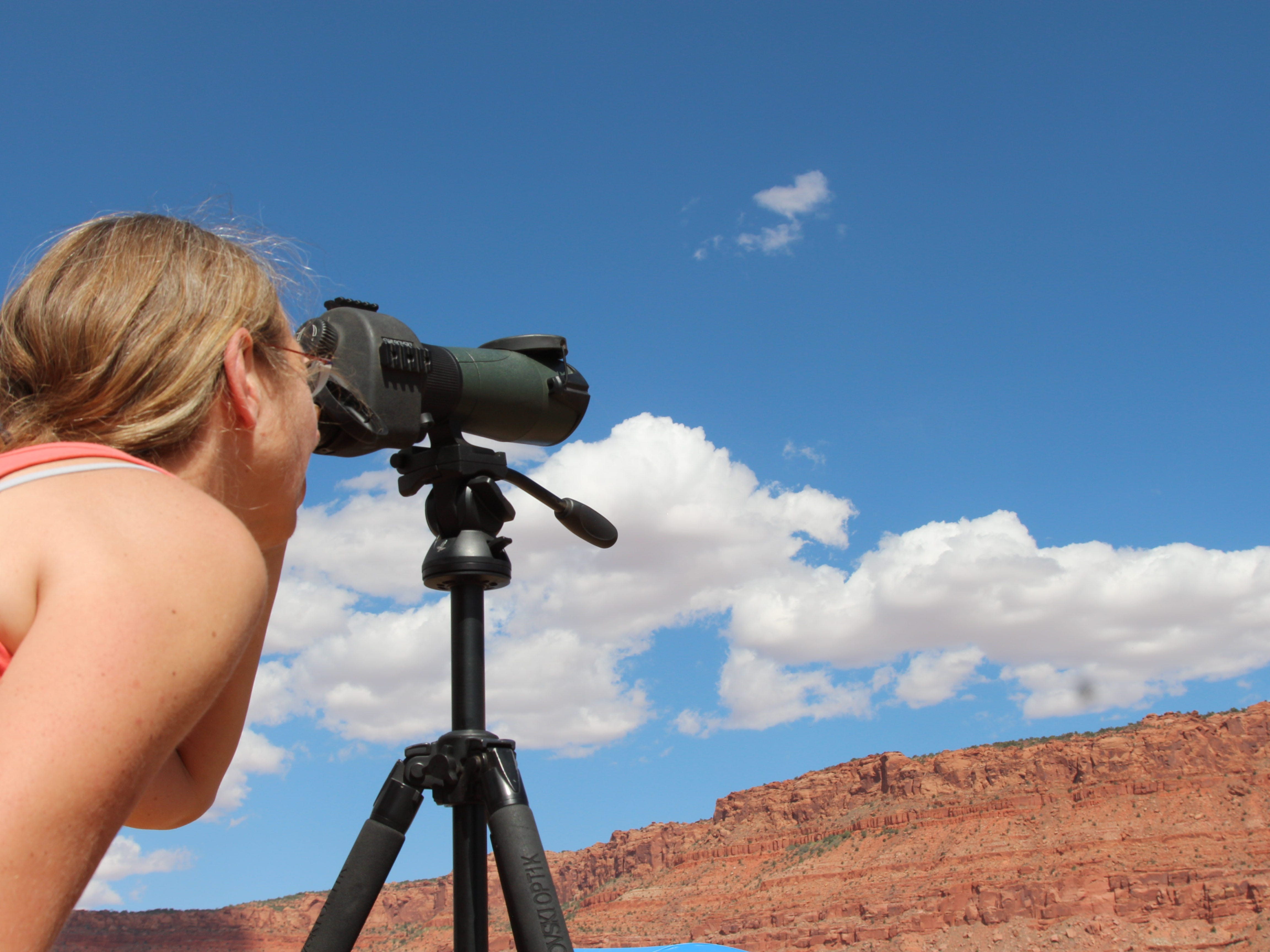 Ellen van Vugt peers through a viewing scope to look for California condors at Vermilion Cliffs National Monument on Sept. 22, 2018.