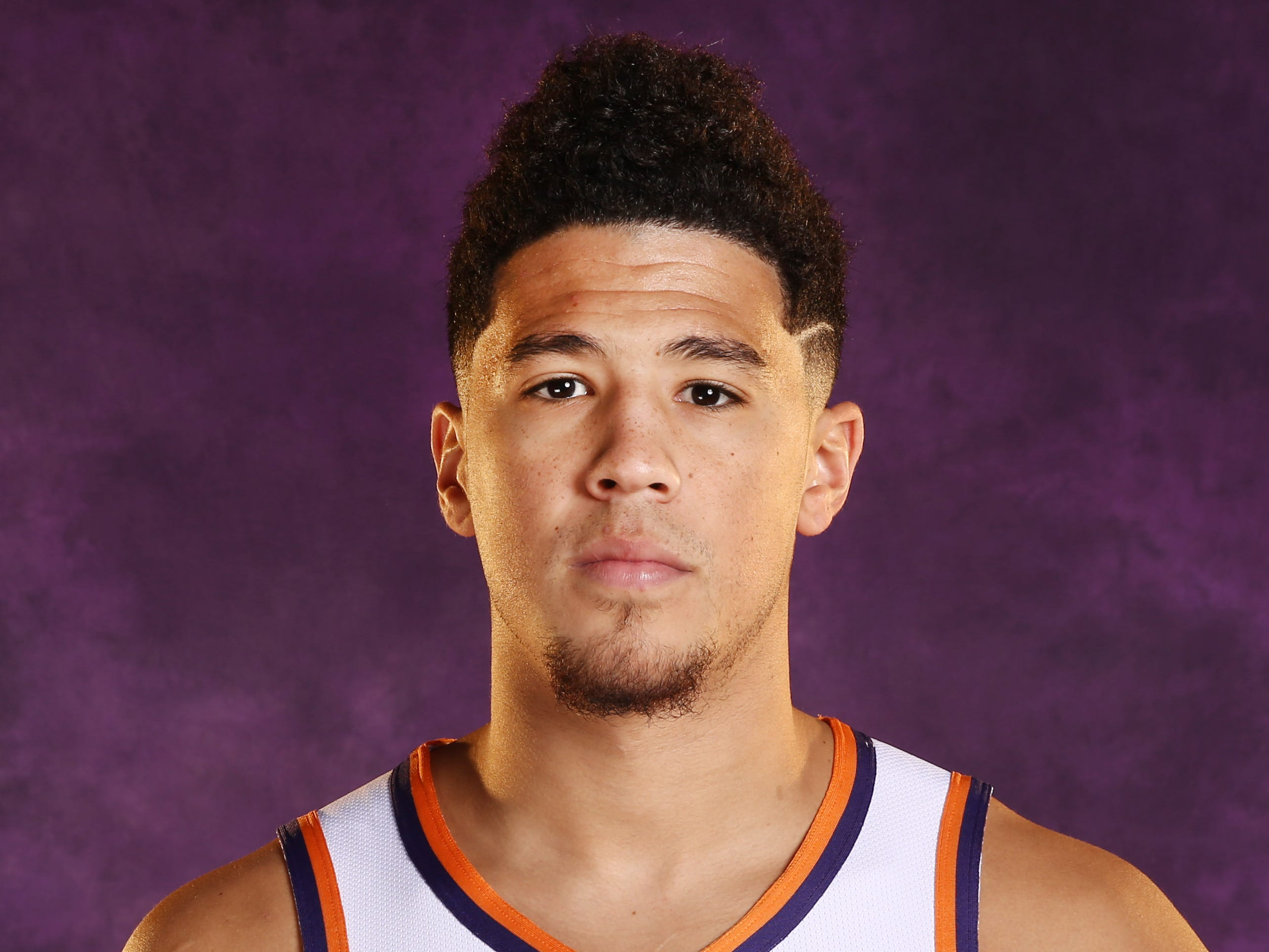 Phoenix Suns guard Devin Booker during media day at Talking Stick Resort Arena on Sep. 24, 2018, in Phoenix, Ariz.