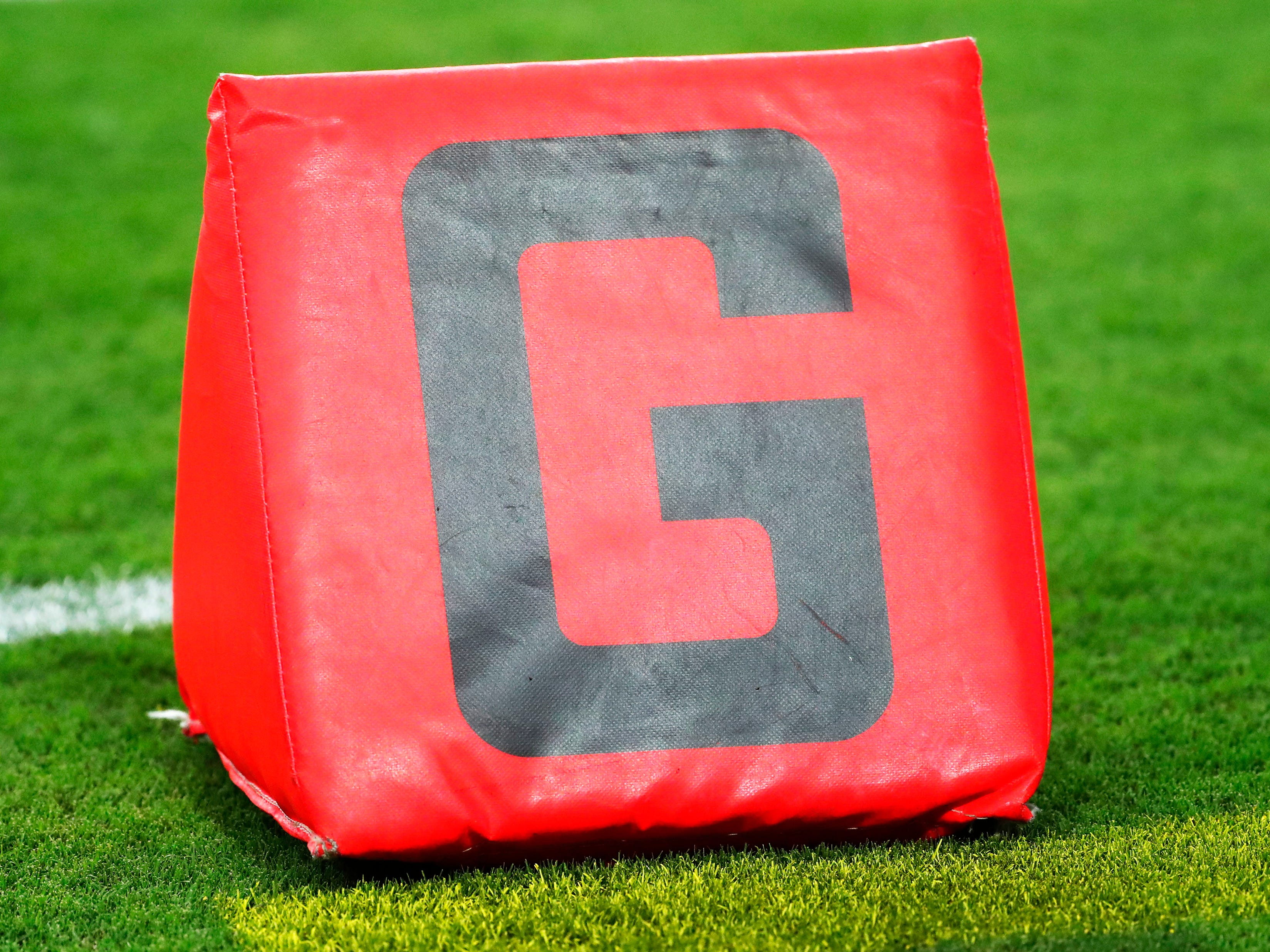 Goal marker icon before NFL action between the Arizona Cardinals and the Chicago Bears at State Farm Stadium in Glendale, Ariz. September 23, 2018.