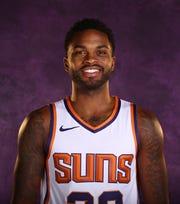 Phoenix Suns guard Troy Daniels during media day at Talking Stick Resort Arena on Sep. 24, 2018, in Phoenix, Ariz.