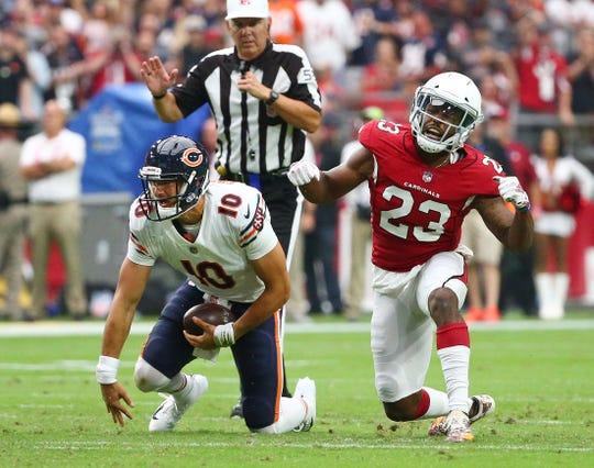 Arizona Cardinals cornerback Bene Benwikere sacks Chicago Bears quarterback Mitchell Trubisky in the first half at State Farm Stadium in Glendale, Ariz.