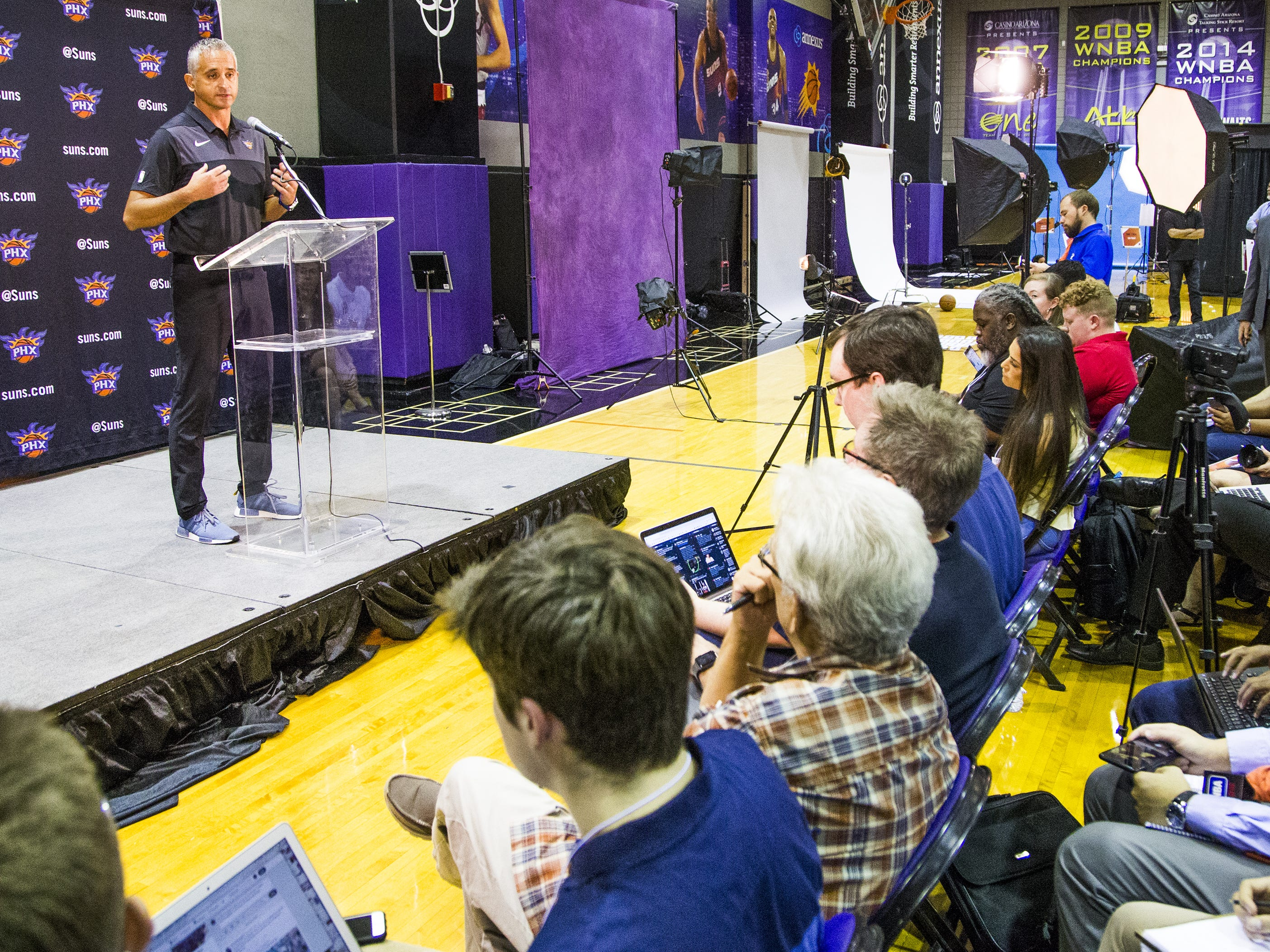 Igor Kokoskov, head coach for the Phoenix Suns, addresses the media at Phoenix Suns Media Day at Talking Stick Resort Arena in Phoenix, Monday, September 24, 2018.