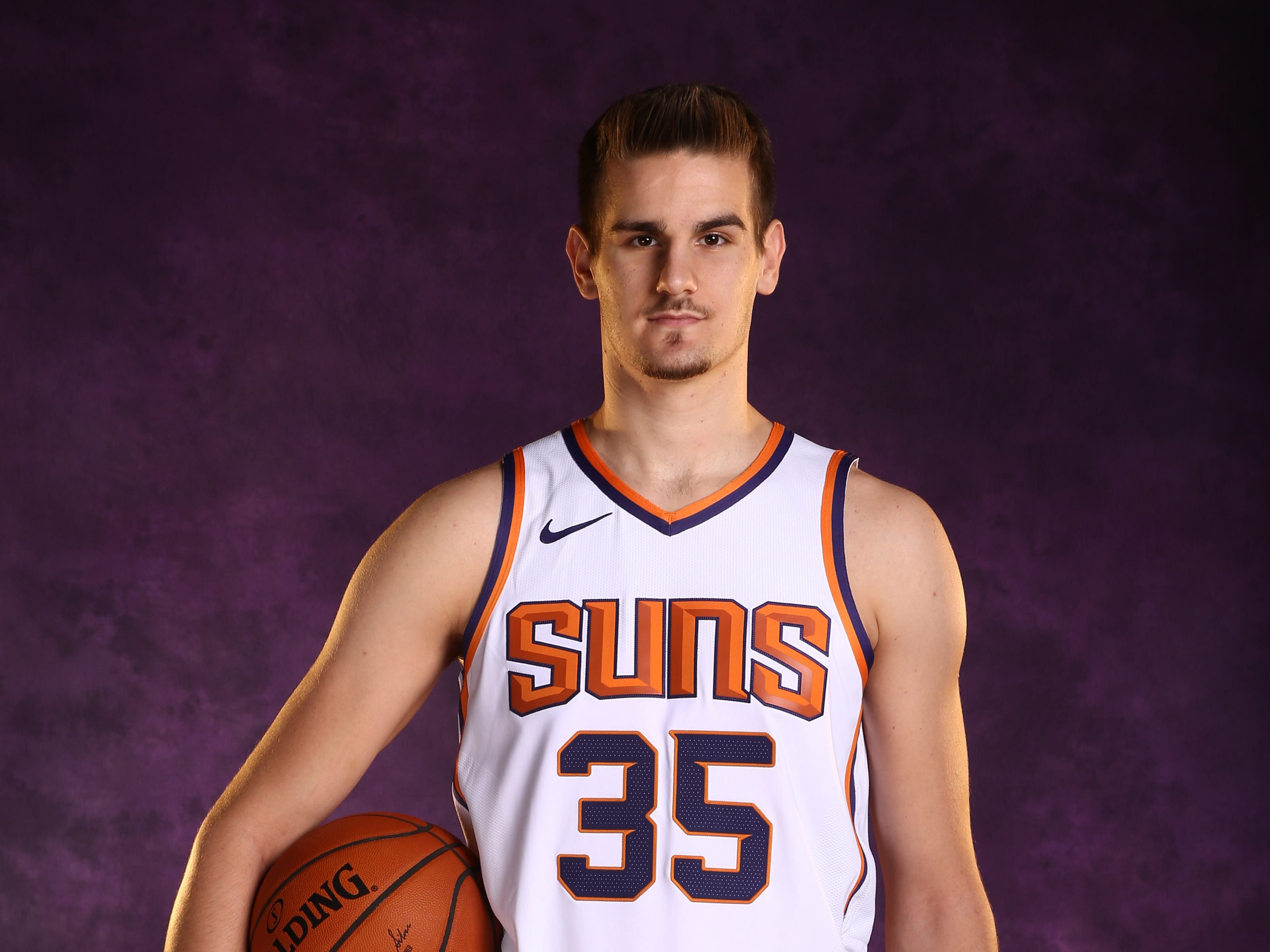 Phoenix Suns forward Dragan Bender during media day at Talking Stick Resort Arena on Sep. 24, 2018, in Phoenix, Ariz.