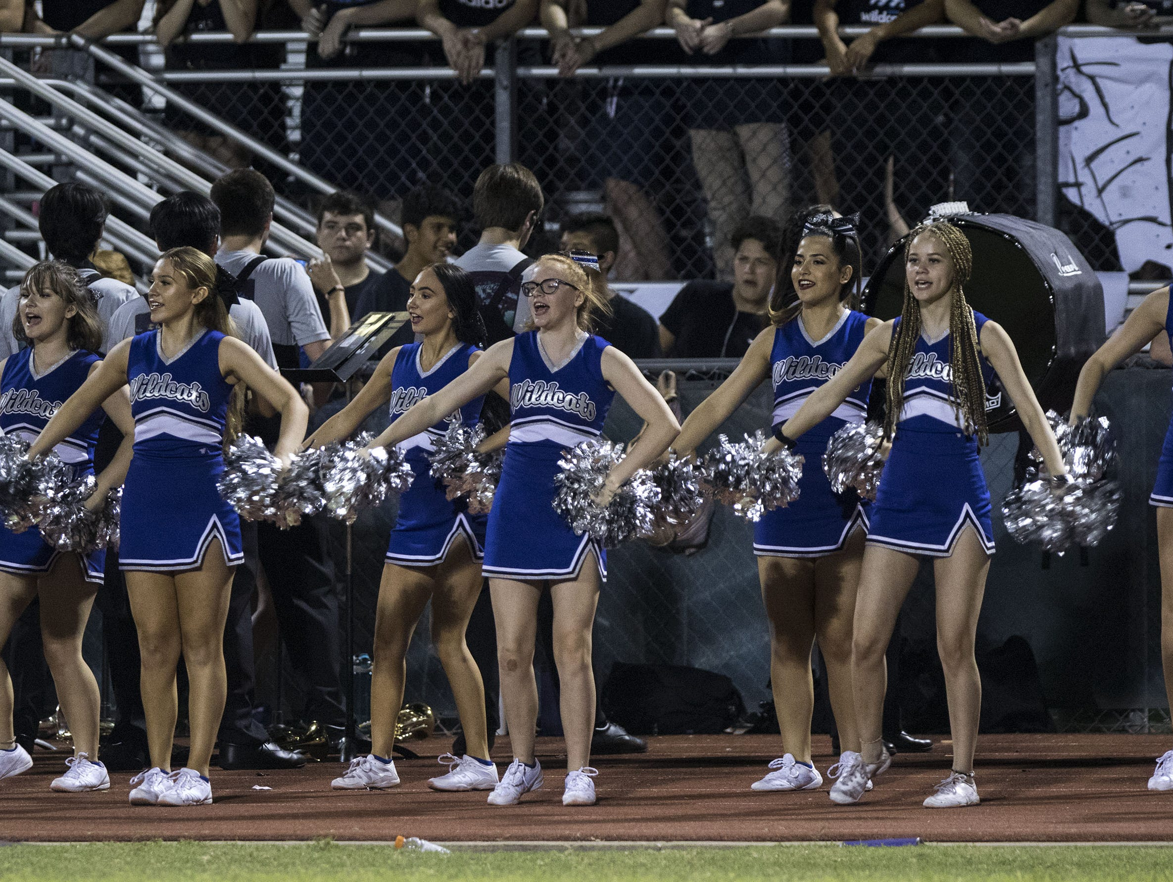 Mesquite cheerleaders do their thing during their game against Seton in Gilbert Friday, Sept. 21, 2018. #azhsfb