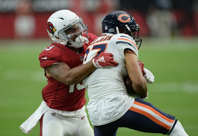 Sep 23, 2018; Glendale, AZ, USA; Chicago Bears cornerback Bryce Callahan (37) intercepts a pass intended for Arizona Cardinals wide receiver Christian Kirk (13) during the second half at State Farm Stadium. Mandatory Credit: Joe Camporeale-USA TODAY Sports