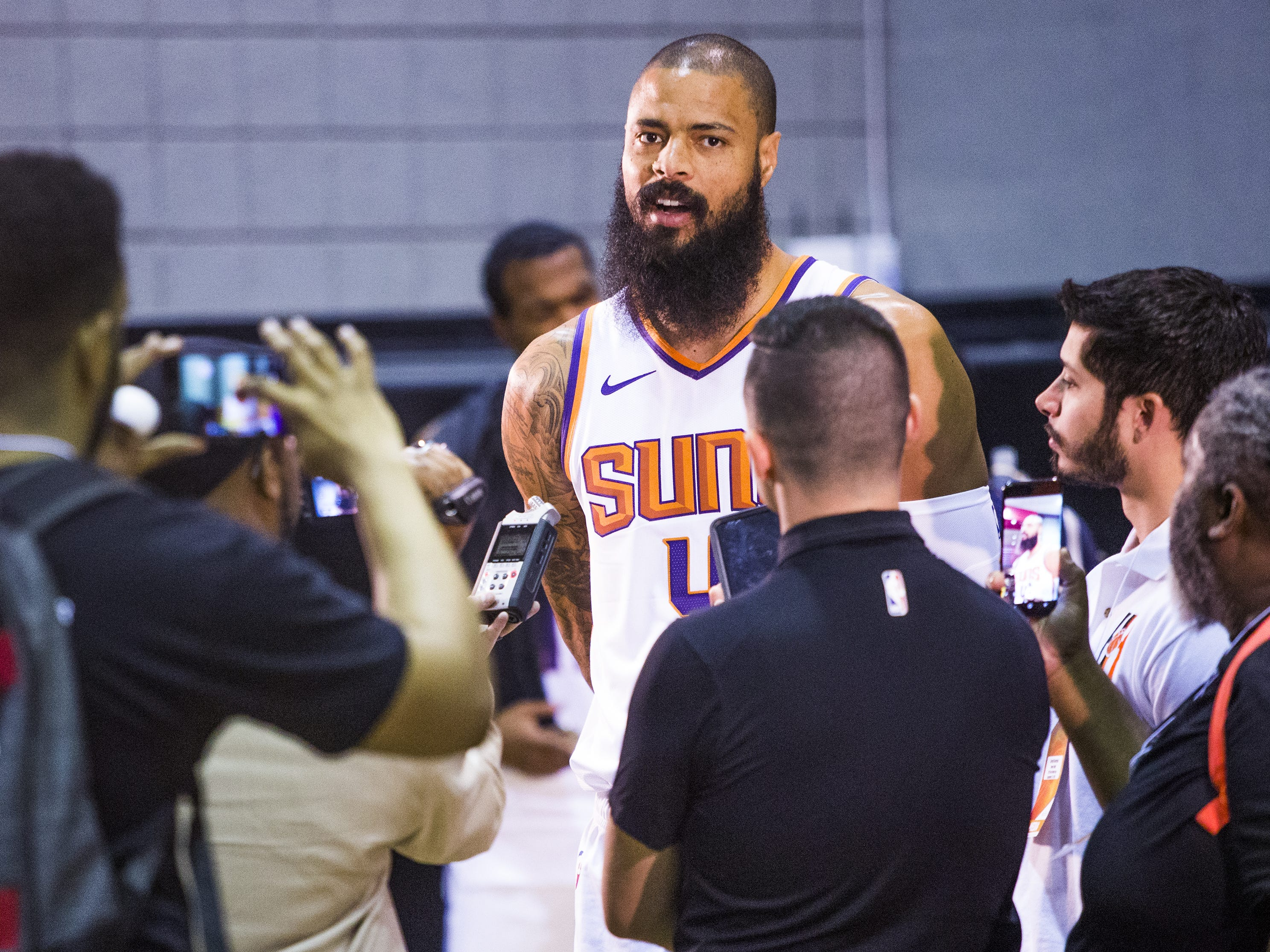 Tyson Chandler, center for the Phoenix Suns,  speaks to members of the media at Phoenix Suns Media Day at Talking Stick Resort Arena in Phoenix, Monday, September 24, 2018.
