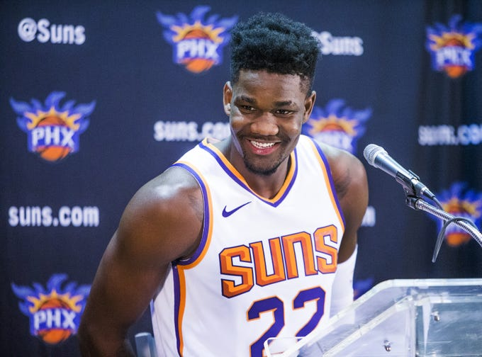 Deandre Ayton, center for the Phoenix Suns, addresses the media at Phoenix Suns Media Day at Talking Stick Resort Arena in Phoenix, Monday, September 24, 2018.